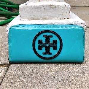 Tory Burch Blue Patent Continental Zip Wallet